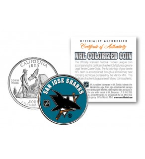 SAN JOSE SHARKS NHL Hockey California Statehood Quarter U.S. Colorized Coin - Officially Licensed