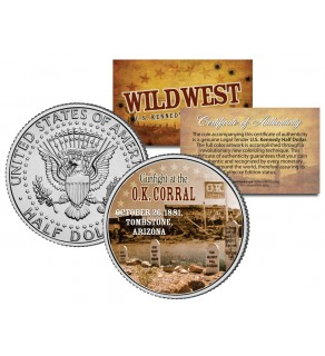 GUNFIGHT at the O.K. CORRAL - Wild West Series - JFK Kennedy Half Dollar U.S. Colorized Coin