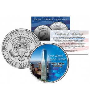 "ONE WORLD TRADE CENTER WTC "" America's Tallest Building "" JFK Kennedy Half Dollar US Colorized Coin"