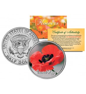 ORIENTAL POPPY FLOWER JFK Kennedy Half Dollar U.S. Colorized Coin