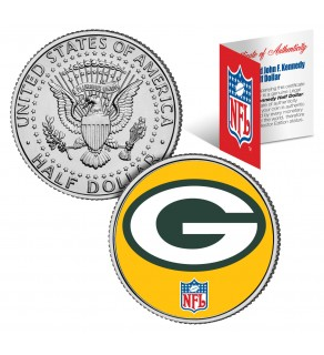 GREEN BAY PACKERS NFL JFK Kennedy Half Dollar US Colorized Coin - Officially Licensed