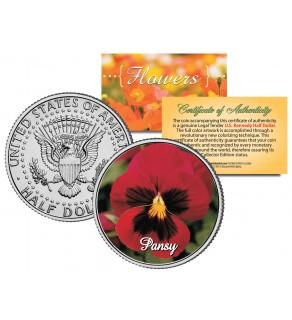 PANSY POPPY FLOWER JFK Kennedy Half Dollar U.S. Colorized Coin