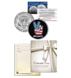 PEACE SIGN - Hand Symbol - Patriotic Keepsake Gift - JFK Kennedy Half Dollar US Colorized Coin