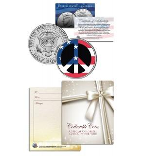 PEACE SIGN SYMBOL - Patriotic Keepsake Gift - JFK Kennedy Half Dollar US Colorized Coin