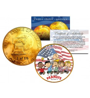 1976 PEANUTS SNOOPY 24K Gold Plated IKE Dollar - Each Coin Serial Numbered of 376 - Officially Licensed