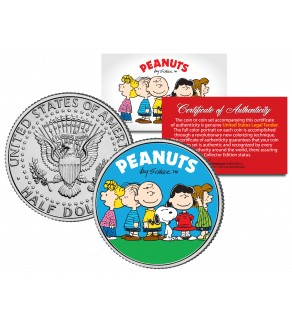 "Peanuts Charlie Brown "" Original Gang "" JFK Kennedy Half Dollar U.S. Coin - Officially Licensed"