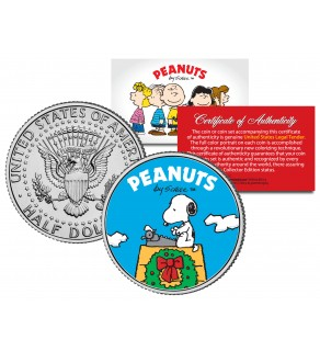 "Peanuts "" Snoopy Christmas Wreath "" JFK Kennedy Half Dollar U.S. Coin - Officially Licensed"
