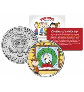 "Peanuts "" Snoopy Xmas w/Linus & Charlie "" JFK Half Kennedy Dollar U.S. Coin - Officially Licensed"