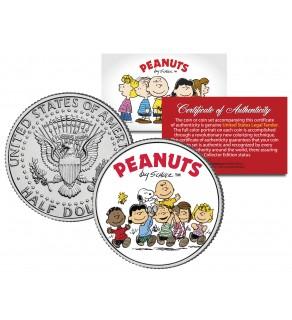 "Peanuts "" Original Gang w/ Franklin "" JFK Kennedy Half Dollar U.S. Coin - Officially Licensed"