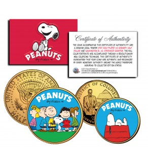 PEANUTS Charlie Brown SNOOPY DC Quarter & JFK Half Dollar US 2-Coin Set 24K Gold Plated - Officially Licensed