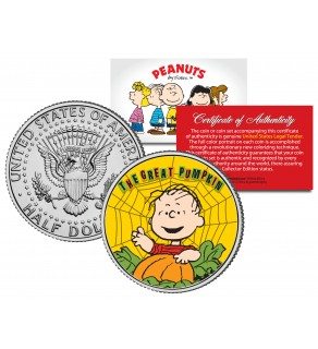 "Peanuts "" Halloween - Great Pumpkin - Linus - Web "" JFK Kennedy Half Dollar U.S. Coin - Officially Licensed"