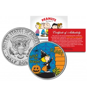 "Peanuts  "" Halloween - Sally - Trick or Treat "" JFK Kennedy Half Dollar U.S. Coin - Officially Licensed"