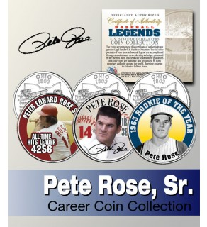 Baseball Legend PETE ROSE Ohio Statehood Quarters US Colorized 3-Coin Set - Officially Licensed