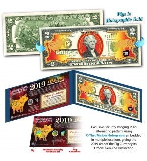 2019 Chinese New Year - YEAR OF THE PIG - Gold Hologram Legal Tender U.S. $2 BILL - $2 Lucky Money with Blue Folio **SOLD OUT**
