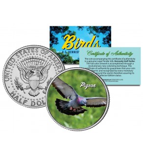 PIGEON Collectible Birds JFK Kennedy Half Dollar Colorized US Coin