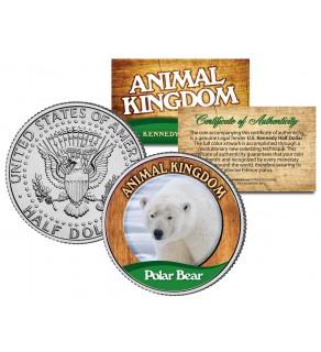 POLAR BEAR - Animal Kingdom Series - JFK Kennedy Half Dollar U.S. Colorized Coin
