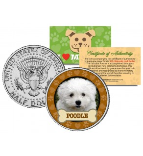 POODLE Dog JFK Kennedy Half Dollar U.S. Colorized Coin