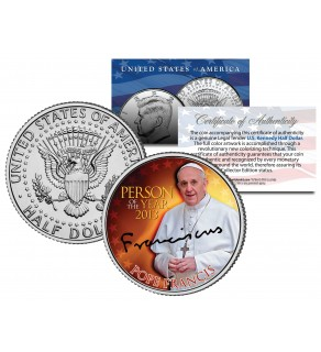 POPE FRANCIS - 2013 Person of the Year - JFK Kennedy Half Dollar US Colorized Coin