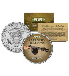 PPSh-41 - WWII Infantry Weapons - JFK Kennedy Half Dollar U.S. Coin