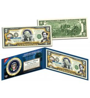 FRANKLIN PIERCE * 14th U.S. President * Colorized Presidential $2 Bill U.S. Genuine Legal Tender