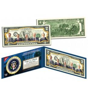PRESIDENTS 1969-1993 Colorized $2 Bill U.S. Legal Tender - NIXON REAGAN BUSH FORD CARTER