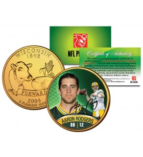 AARON RODGERS Colorized Wisconsin Statehood Quarter 24K Gold Plated Coin PACKERS - Officially Licensed
