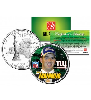 ELI MANNING - Draft Pick - Colorized New York Statehood U.S. Quarter Coin ROOKIE - Officially Licensed
