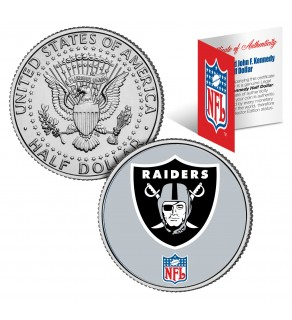 OAKLAND RAIDERS NFL JFK Kennedy Half Dollar US Colorized Coin - Officially Licensed