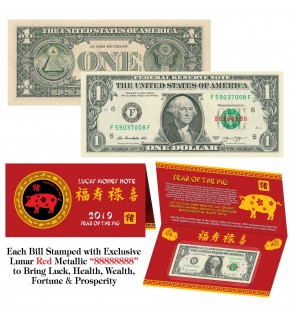 2019 Chinese Lunar New Year YEAR of the PIG Red Metallic Stamp Lucky 8 Genuine $1 Bill w/Folder