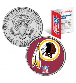WASHINGTON REDSKINS NFL JFK Kennedy Half Dollar US Colorized Coin - Officially Licensed