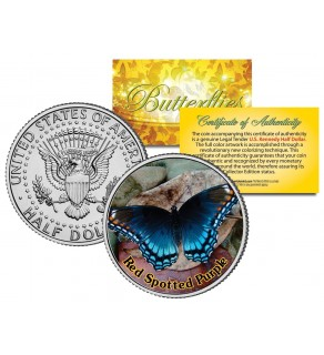 RED SPOTTED PURPLE BUTTERFLY JFK Kennedy Half Dollar U.S. Colorized Coin