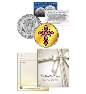 Religious Communion Baptism Cross - Keepsake Gift JFK Kennedy Half Dollar US Colorized Coin