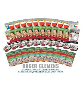 Lot of 10 ROGER CLEMENS Colorized Texas Quarter Unopened Coin Packs - Officially Licensed