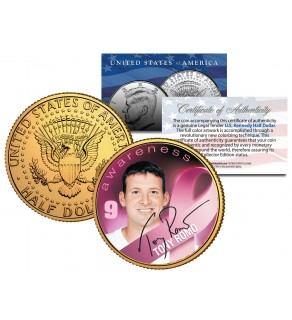 Breast Cancer Awareness TONY ROMO NFL JFK Kennedy Half Dollar US 24K Gold Plated US Coin