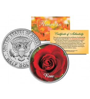 ROSE FLOWER JFK Kennedy Half Dollar U.S. Colorized Coin