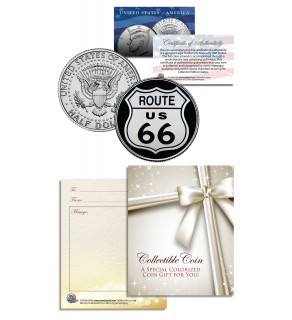 ROUTE 66 - Legendary Highway - JFK Kennedy Half Dollar U.S. Colorized Coin