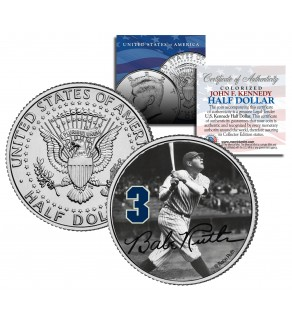 "Babe Ruth "" Hitting "" JFK Kennedy Half Dollar US Colorized Coin - Officially Licensed"