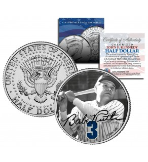 "Babe Ruth "" Holding Bat "" JFK Kennedy Half Dollar US Colorized Coin - Officially Licensed"