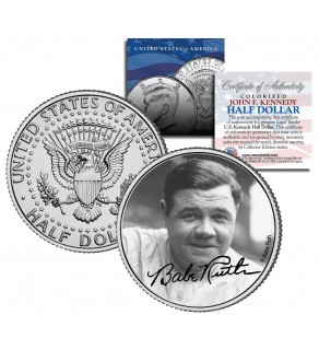 "Babe Ruth "" Portrait "" JFK Kennedy Half Dollar US Colorized Coin - Officially Licensed"