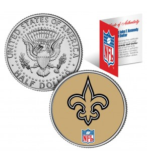 NEW ORLEANS SAINTS NFL JFK Kennedy Half Dollar US Colorized Coin - Officially Licensed