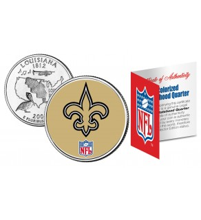 NEW ORLEANS SAINTS NFL Louisiana US Statehood Quarter Colorized Coin  - Officially Licensed
