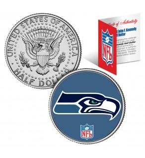 SEATTLE SEAHAWKS NFL JFK Kennedy Half Dollar US Colorized Coin - Officially Licensed