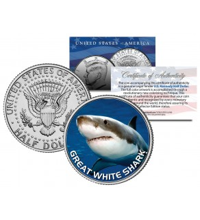GREAT WHITE SHARK JFK Kennedy Half Dollar US Colorized Coin