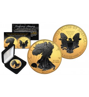 2017 1 oz Pure Silver $1 BLACK EAGLE Ruthenium EDITION 24KT Gold Gilded U.S. Coin with BOX