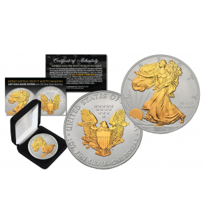 2016 American Silver Eagle Uncirculated 1 oz One Ounce U.S. Coin with * Mixed-Metals Select Matte Imaging * 24KT GOLD GILDED EDITION  with .999 Silver Matte Backdrop (with BOX)