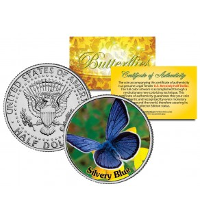 SILVERY BLUE BUTTERFLY JFK Kennedy Half Dollar U.S. Colorized Coin