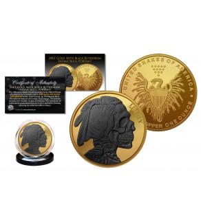INDIAN HEAD SKULL 1 oz Copper Medallion Coin 24K GOLD GILDED with Black Ruthenium Skull Head - Snakes of America