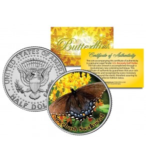 SPICEBUSH SWALLOWTAIL BUTTERFLY JFK Kennedy Half Dollar U.S. Colorized Coin