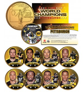 PITTSBURGH STEELERS - 6-Time Champions - State Quarters 9-Coin Set 24K Gold Plated - Officially Licensed