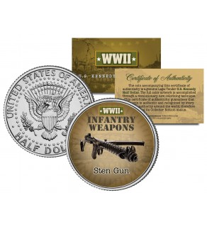STEN GUN - WWII Infantry Weapons - JFK Kennedy Half Dollar U.S. Coin